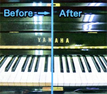 鍵盤 クリーニング前後の比較